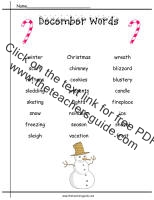 december word list worksheet