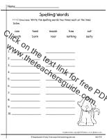 first grade wonders unit five week four printout  spelling words write two times
