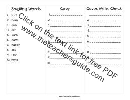 wonders first grade unit five week one printout spelling cover copy write
