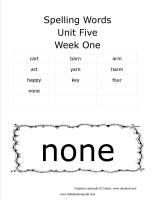 wonders first grade unit five week one printout spelling words cards