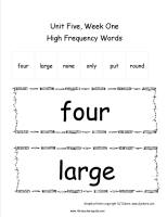 wonders first grade unit five week one printout high frequency words cards