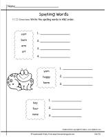 wonders first grade unit five week one printout spelling words abc order