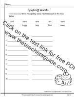 wonders first grade unit five week one printout spelling words write two times