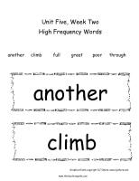 first grade wonders unit five week two printouts high frequency words cards