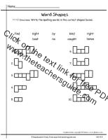 wonders first grade unit four week four printout spelling word shapes