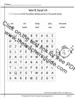wonders first grade unit four week two printout spelling word search
