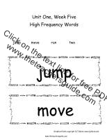 first grade wonders unit one week five high frequency words cards