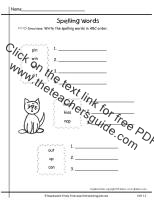 first grade wonders unit one week two spelling words abc order