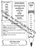 first grade wonders unit one week two weekly outline