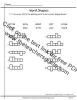 first grade wonders unit six week four spelling word shapes