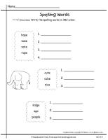 wonders first grade unit three week four spelling words abc order