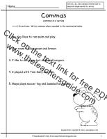 commas in a worksheet