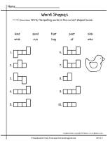 first grade wonders unit two week three spelling words shapes