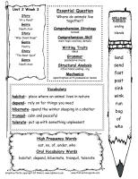first grade wonders unit two week three weekly outline