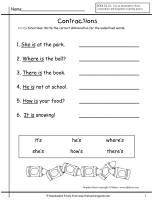 wonders first grade unit two week two contractions worksheet