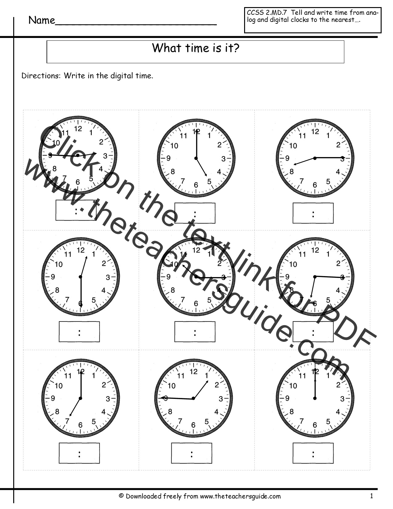 Telling Time Worksheets From The Teacher 39 S Guide