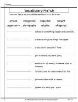 mcgraw hill wonders third grade unit two week two vocabulary words matching